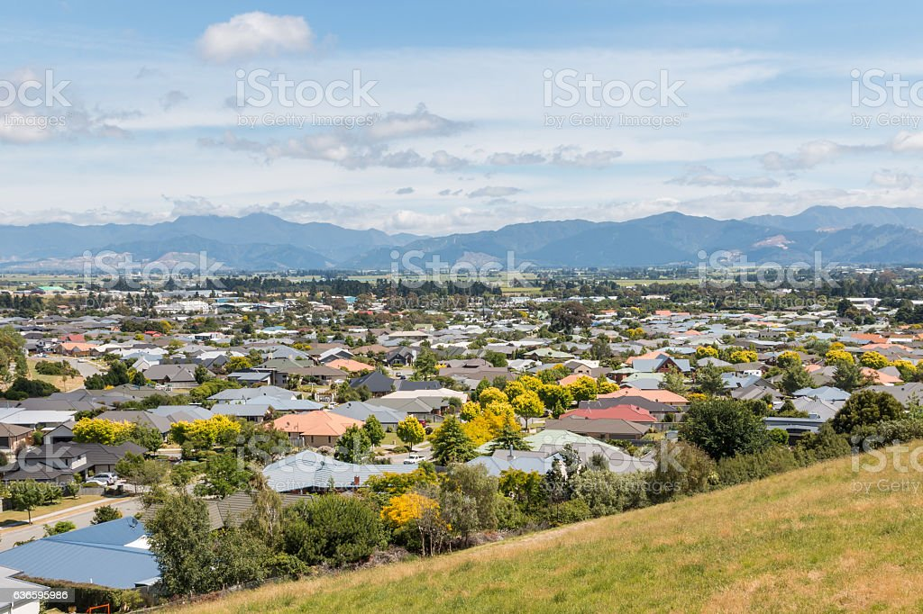 houses in suburb of Blenheim town, New Zealand stock photo