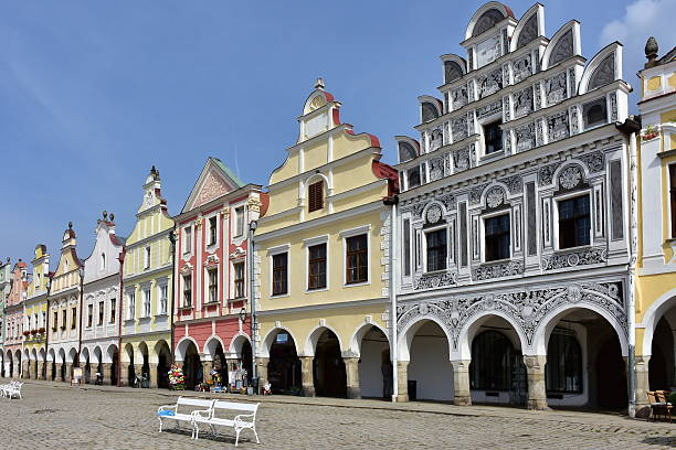 houses in Telc, Czech, stock photo