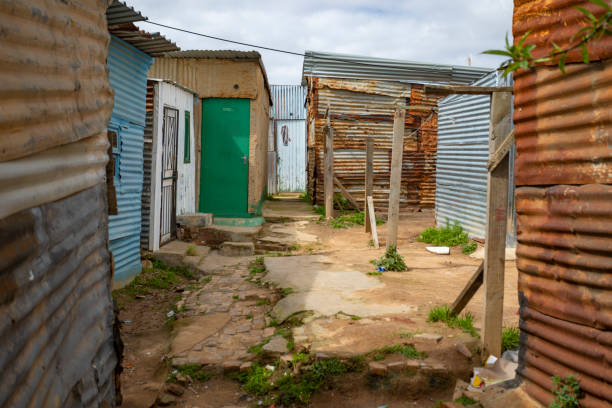 Houses in the Cape Town Township of Khayelitsha stock photo