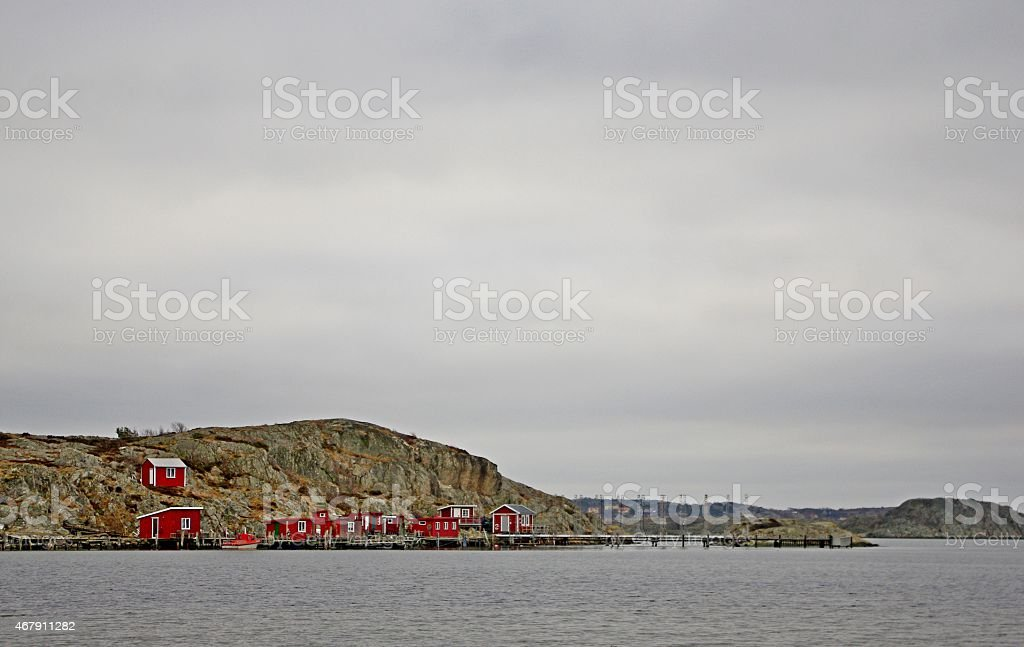 Houses in the island stock photo