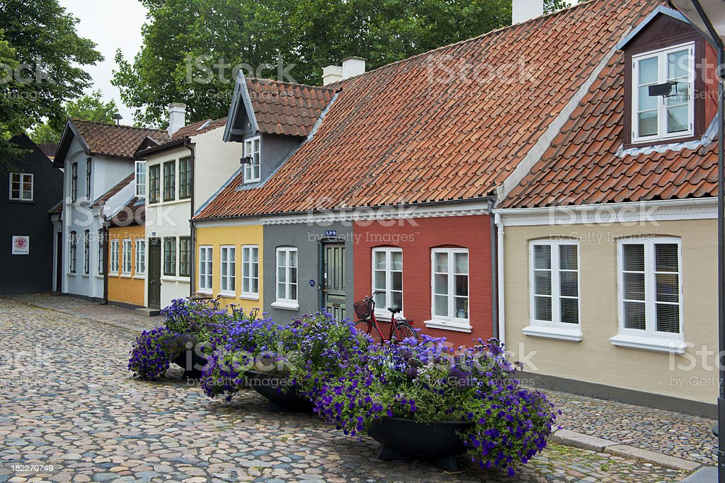 Houses in the old town of Odense stock photo