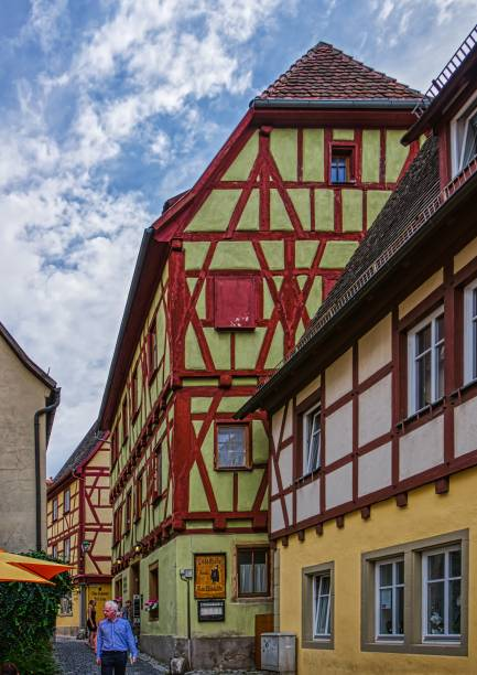 Houses in the old town of Rothenburg ob der Tauber in Bavaria stock photo