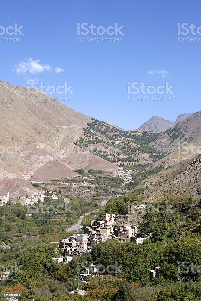 Houses in the village of Imlil in Toubkal National Park, Morocco royalty-free stock photo