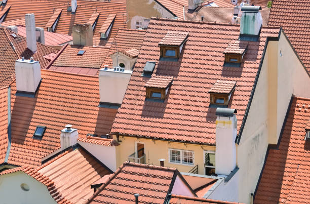 Houses in the village Houses in the village and their roofs made of ceramic bricks adjacency stock pictures, royalty-free photos & images