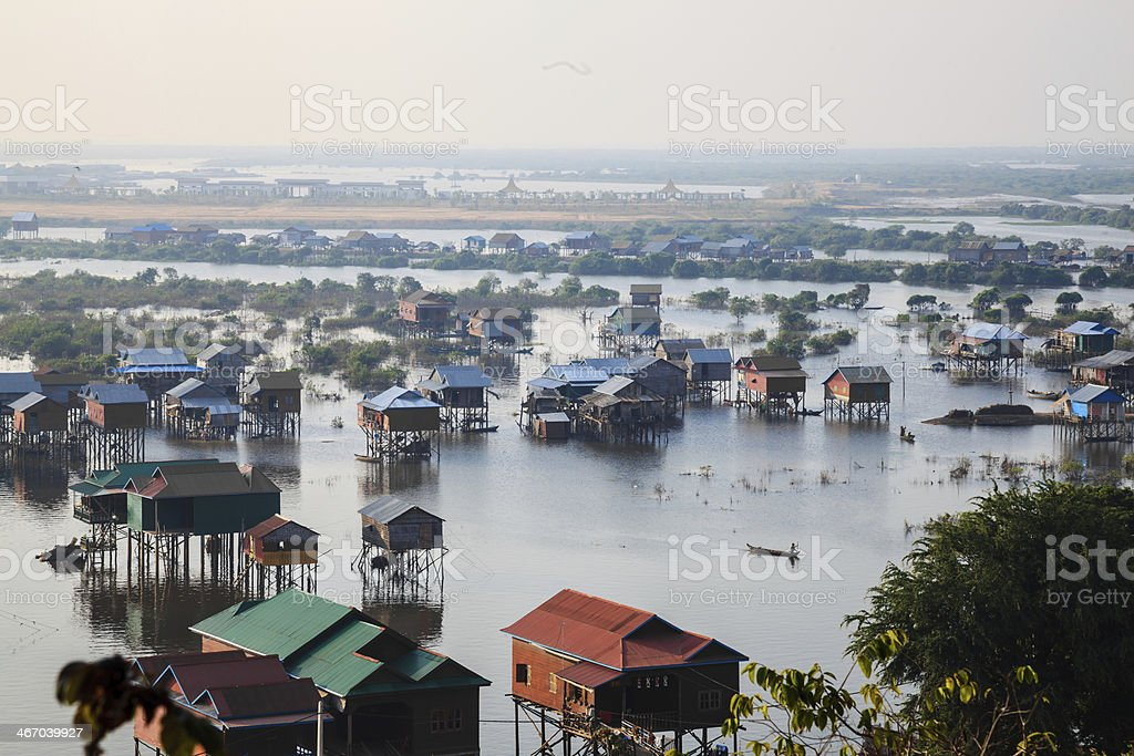 Houses in tonle sap stock photo