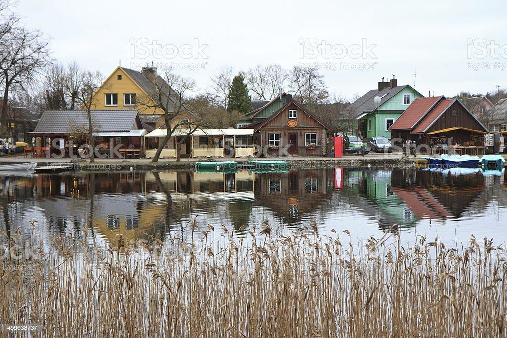 Houses in Trakai stock photo