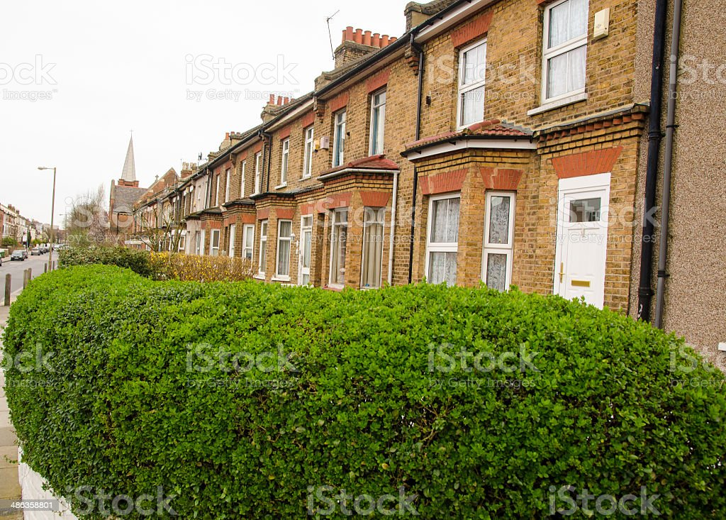houses in UK with bush stock photo