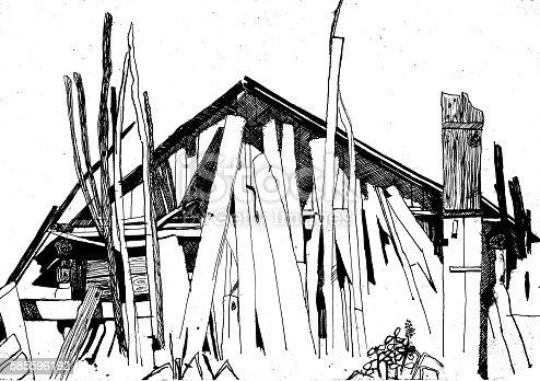 Countryside landscape, Hand drawn illustration sketch.