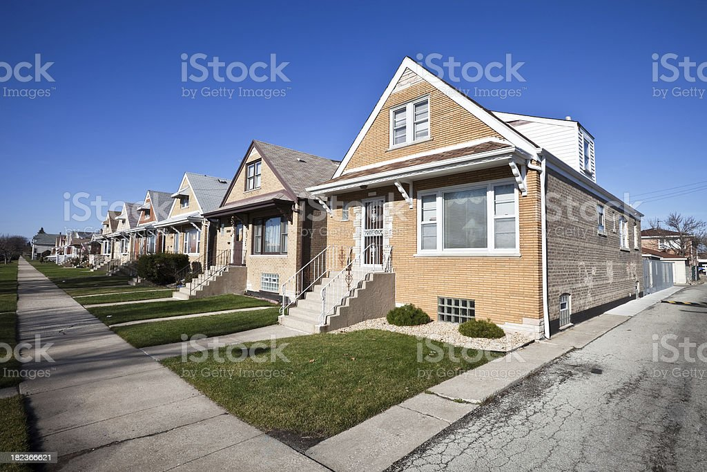 Houses in West Elsdon, Chicago royalty-free stock photo
