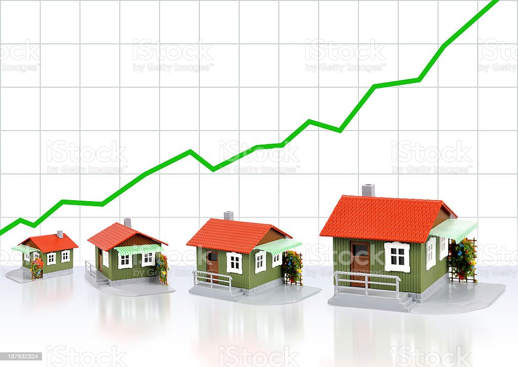 Houses increasing in value stock photo