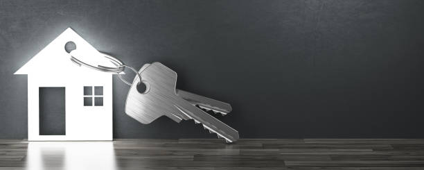 House's keys, new home, render 3d illustration - foto stock