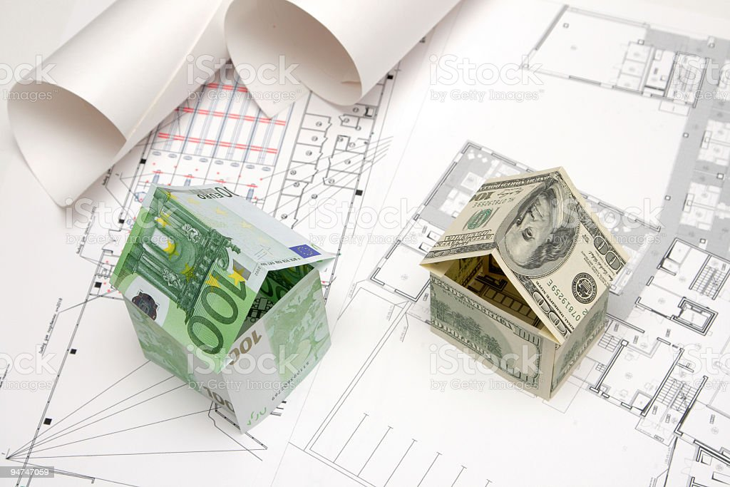 houses made of banknotes royalty-free stock photo