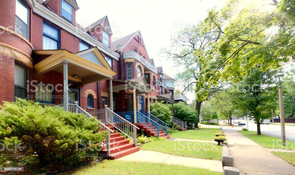 Houses, Oak Park, Chicago. stock photo