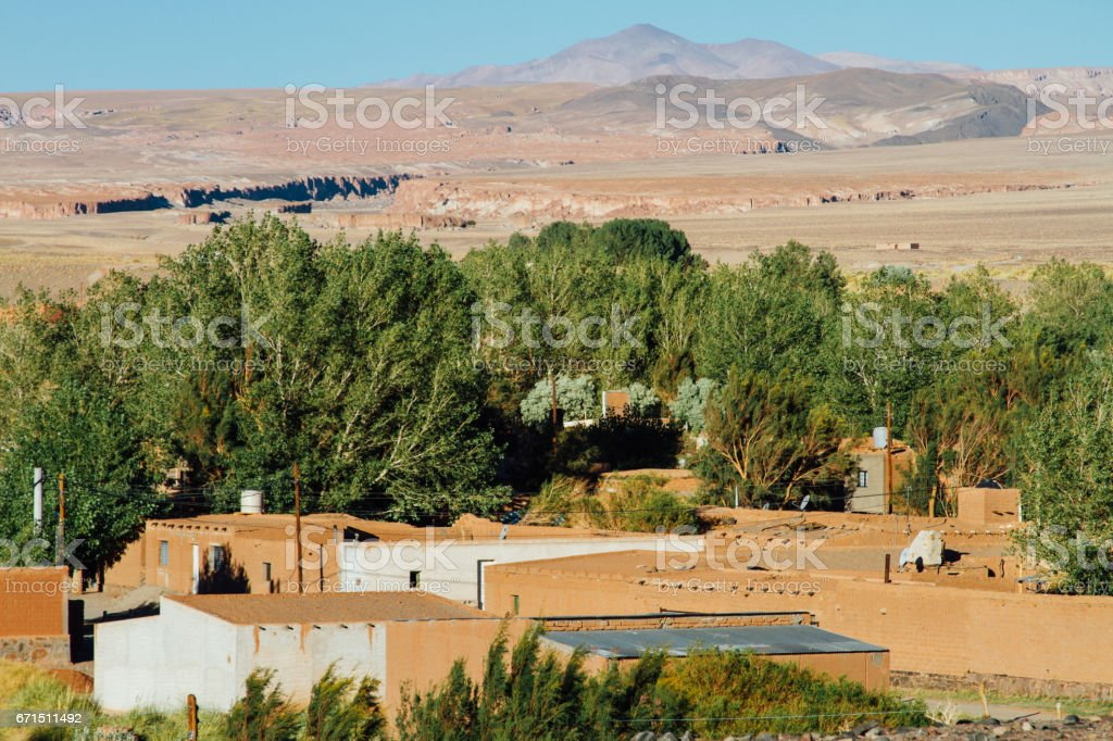 Houses of adobe and hill in Antofagasta, Catamarca, Argentina stock photo