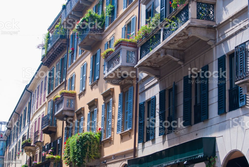 Houses of Brera area in Milan - foto stock