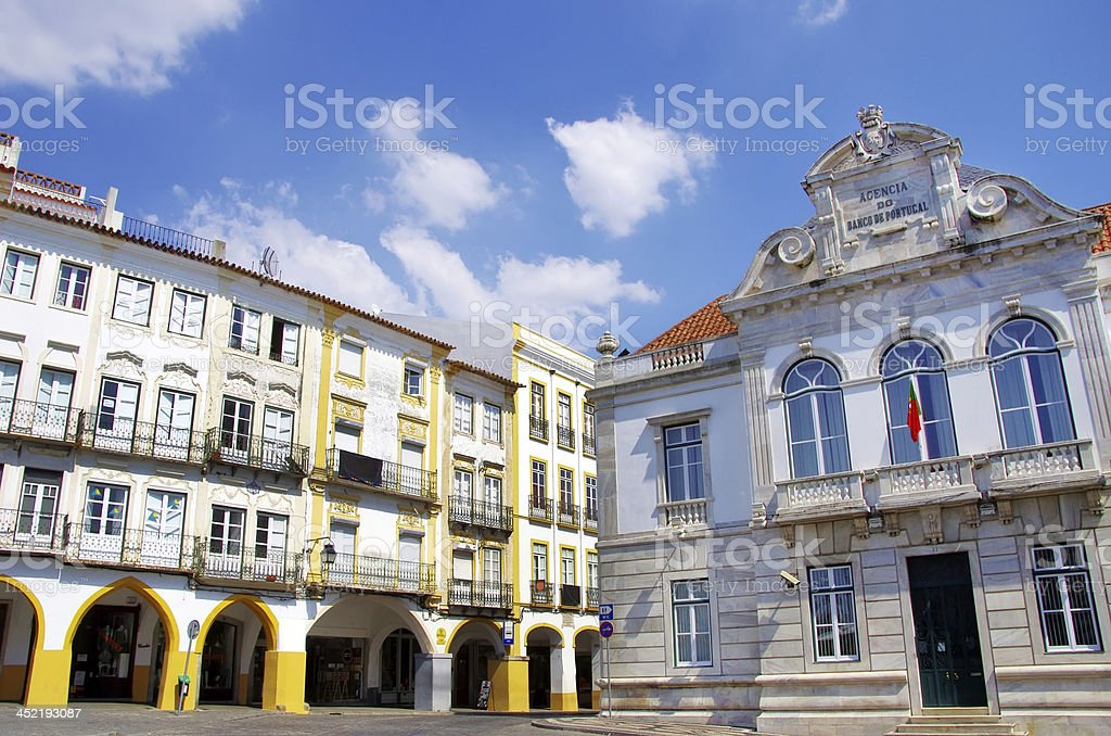 Houses of Giraldo square, Evora stock photo