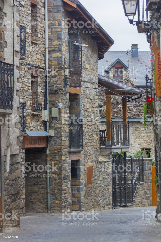 Houses of high mountain villages in the pyrenees of huesca, spain stock photo