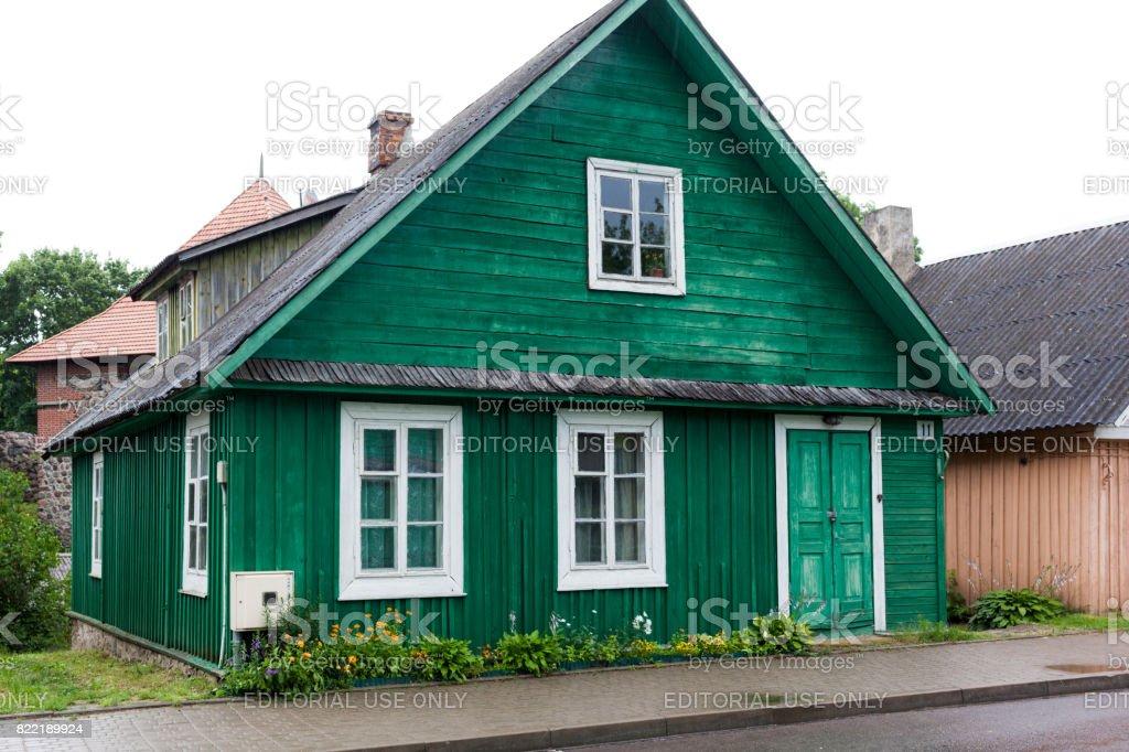 Houses of Karaites in Trakai, Lithuania. stock photo