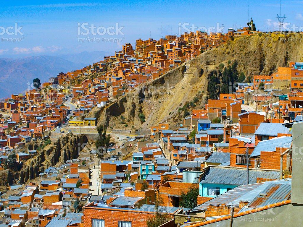 Houses of La Paz in Bolivia stock photo