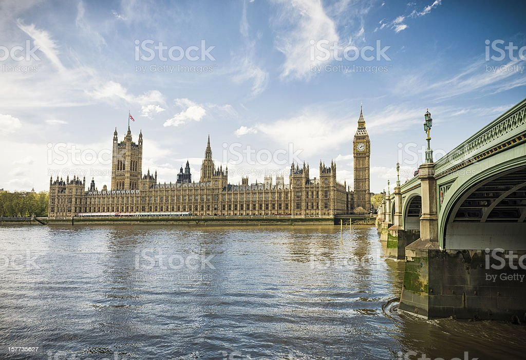 Houses of Parliament Across the Thames stock photo