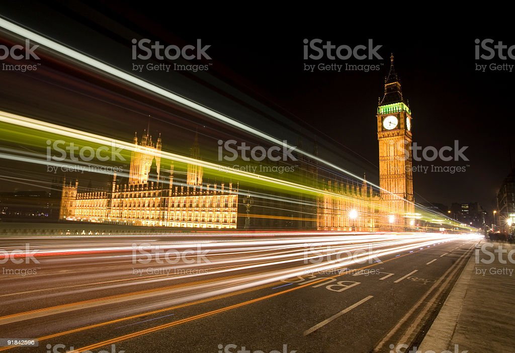 Houses of Parliament and Big Ben at night royalty-free stock photo