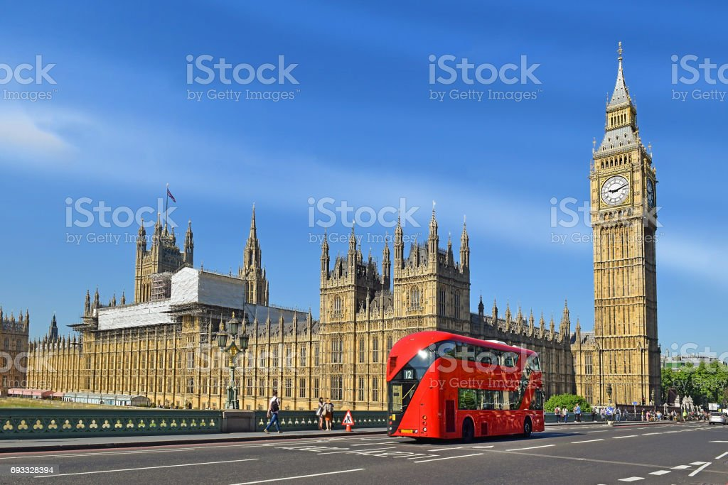 Houses of Parliament and Big Ben in London stock photo