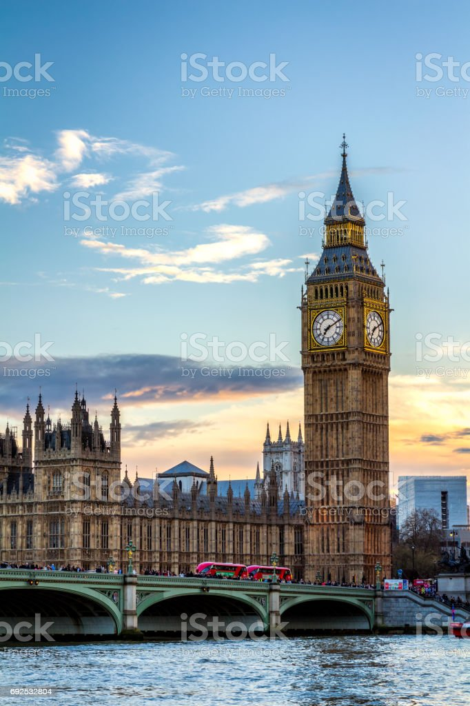 Houses of Parliament and Big Ben in London, UK stock photo