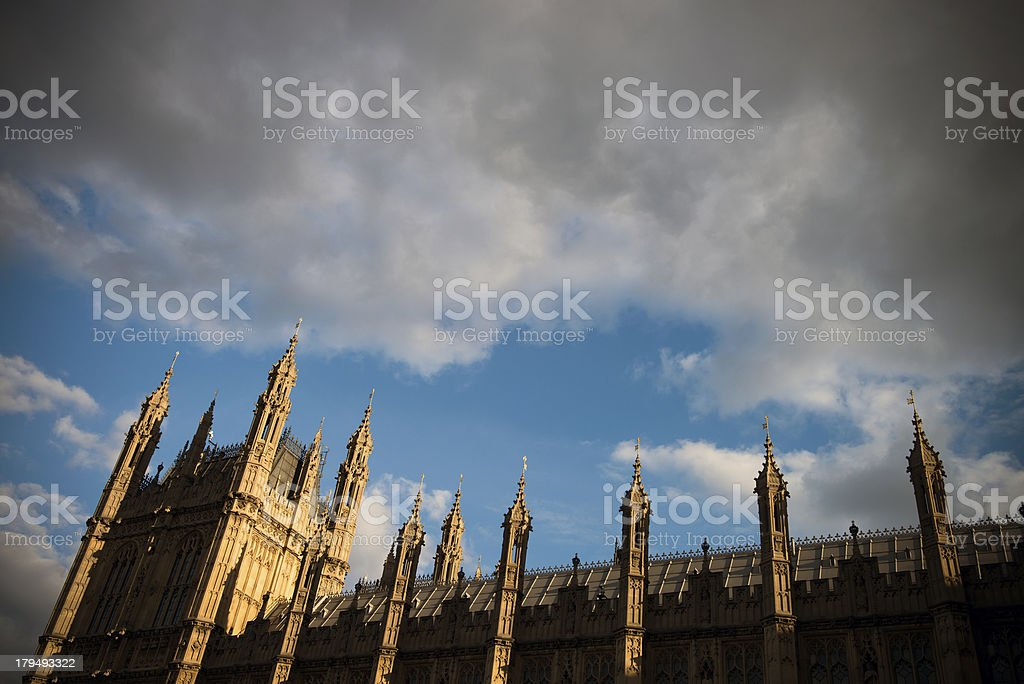 Houses of Parliament and cloudy sky royalty-free stock photo