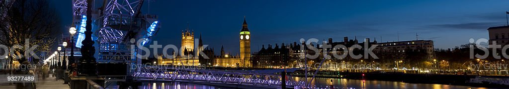 XXL - Houses of Parliament and London Eye at Twilight. royalty-free stock photo