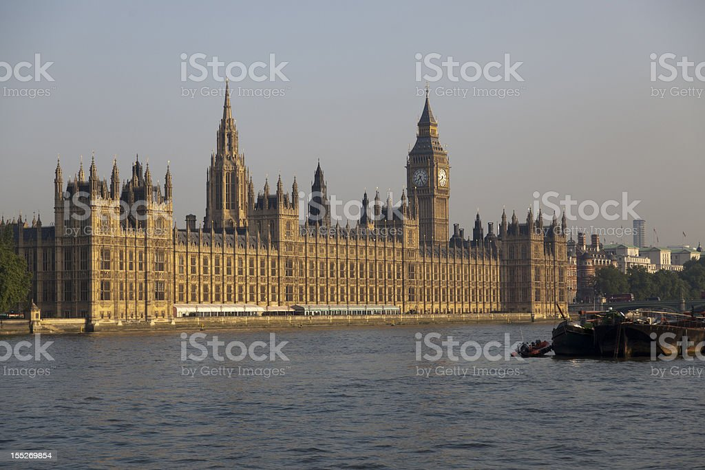Houses of Parliament  and River Thames mid-wide shot royalty-free stock photo