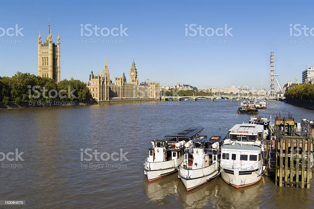 Houses of Parliament and River Thames royalty-free stock photo