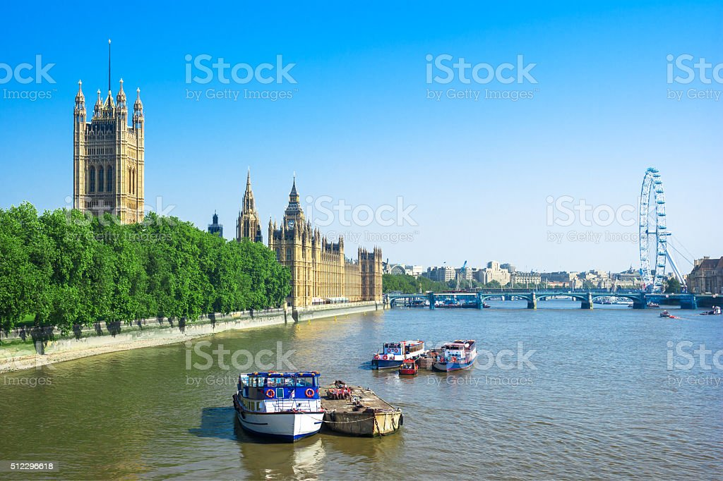 Houses of Parliament and Thames River, London, UK stock photo