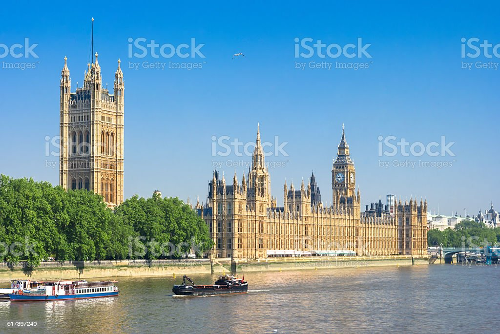 Houses of Parliament and Thames River. London, UK stock photo