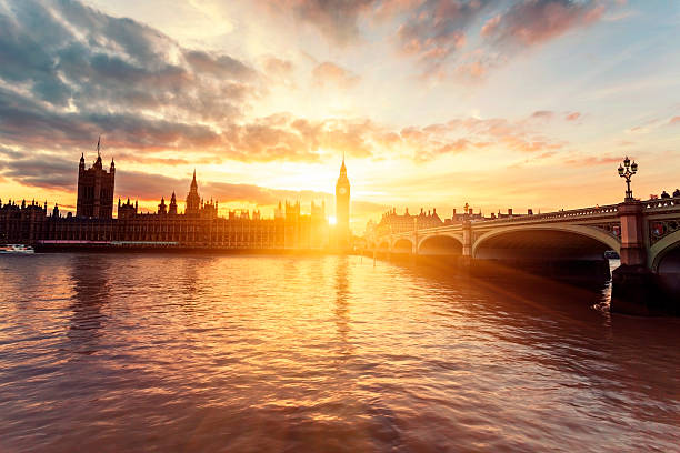Houses of Parliament and Westminster Bridge at sunset in London Houses of Parliament and Westminster Bridge at sunset in London, United Kingdom. london england stock pictures, royalty-free photos & images