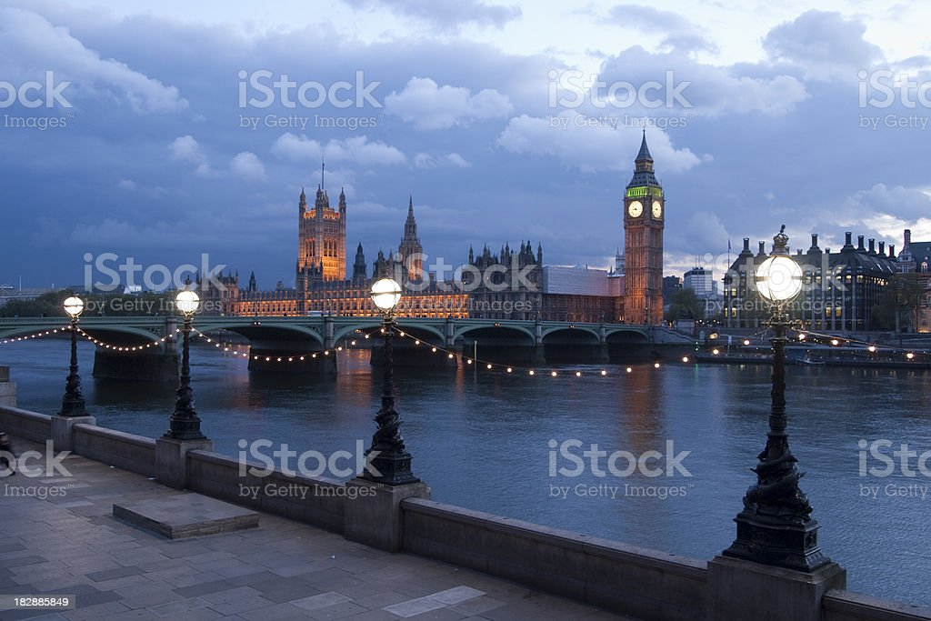 Houses of Parliament and Westminster Bridge, London stock photo