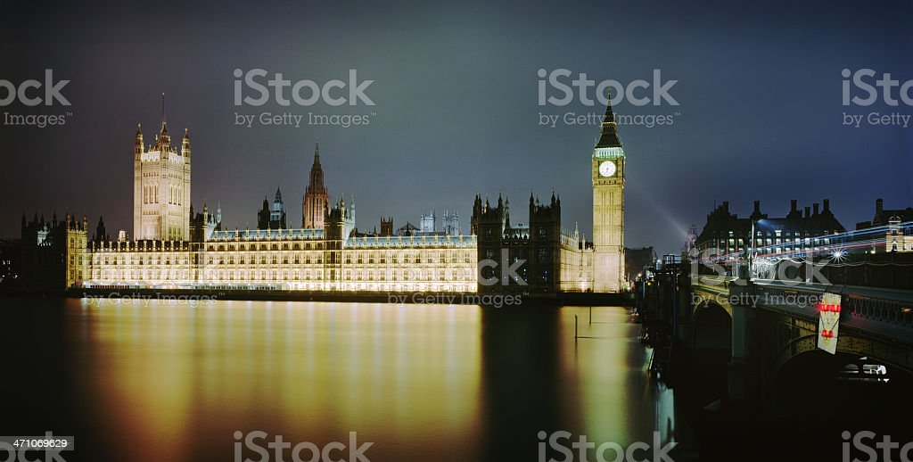 Houses of Parliament at night, London royalty-free stock photo