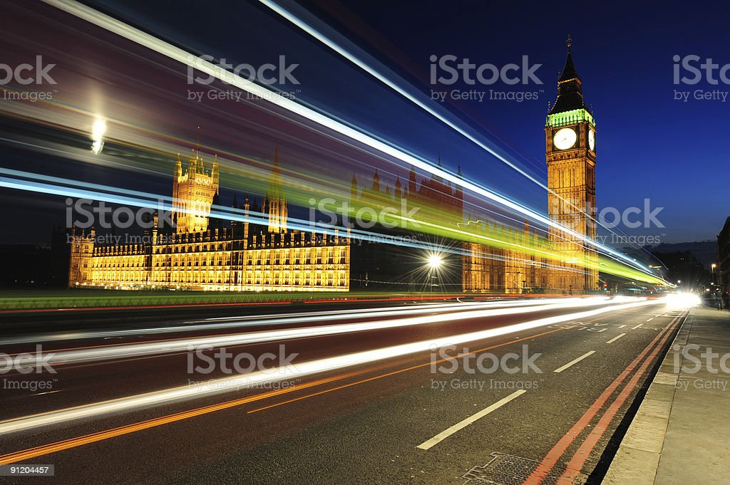 Houses of Parliament at night royalty-free stock photo