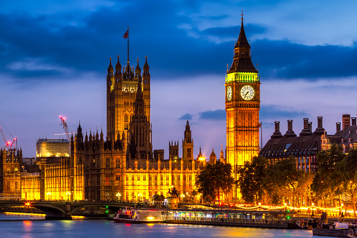 Houses of Parliament at night , Westminster, London, UK