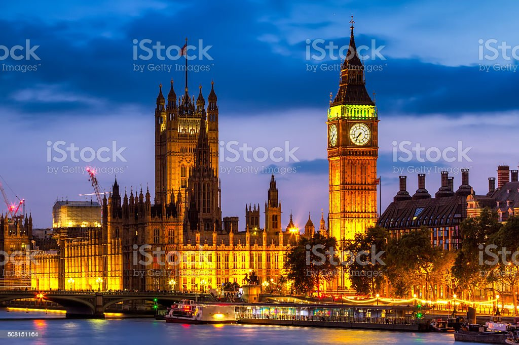 Houses of Parliament at night , Westminster, London, UK stock photo