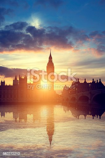 The Houses of Parliament at sunset in London, United Kingdom.