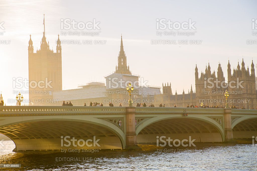 Houses of Parliament at sunset. London stock photo