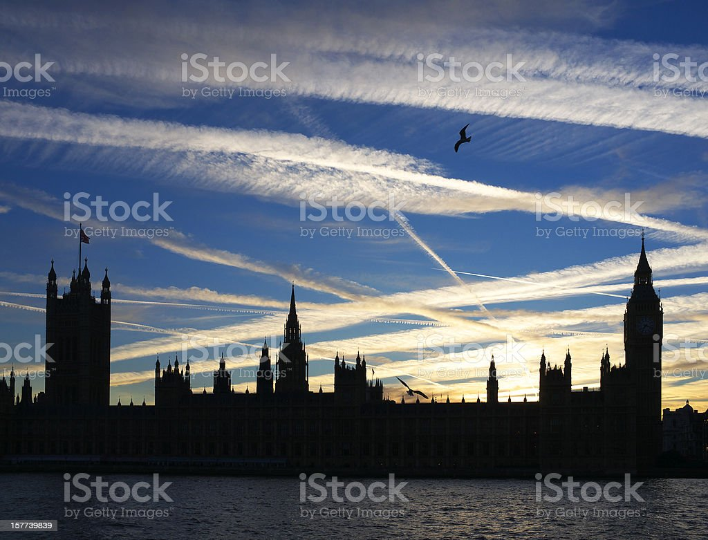 Houses Of Parliament At Sunset royalty-free stock photo