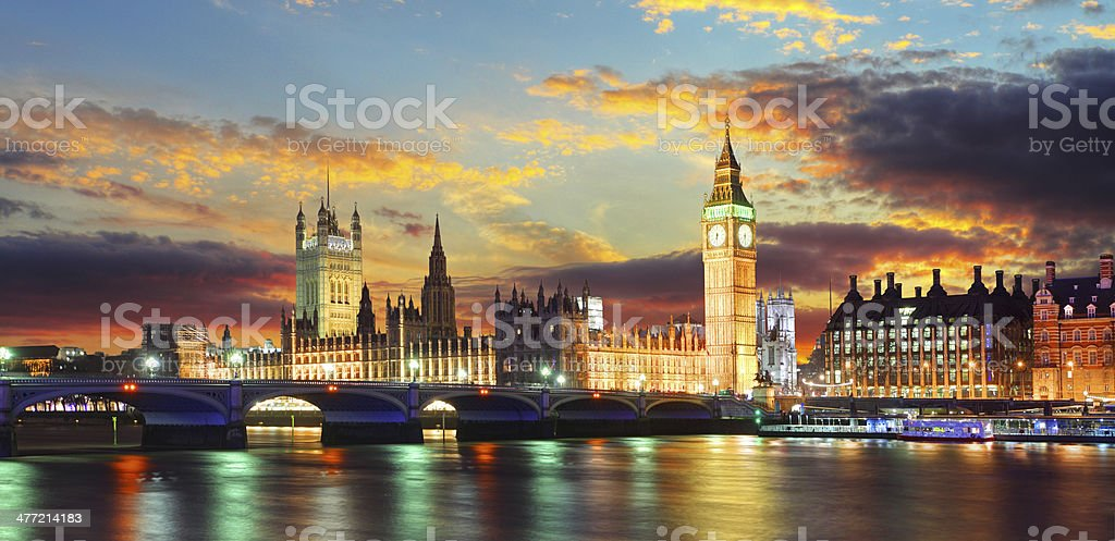 Houses of parliament - Big ben, London, UK stock photo