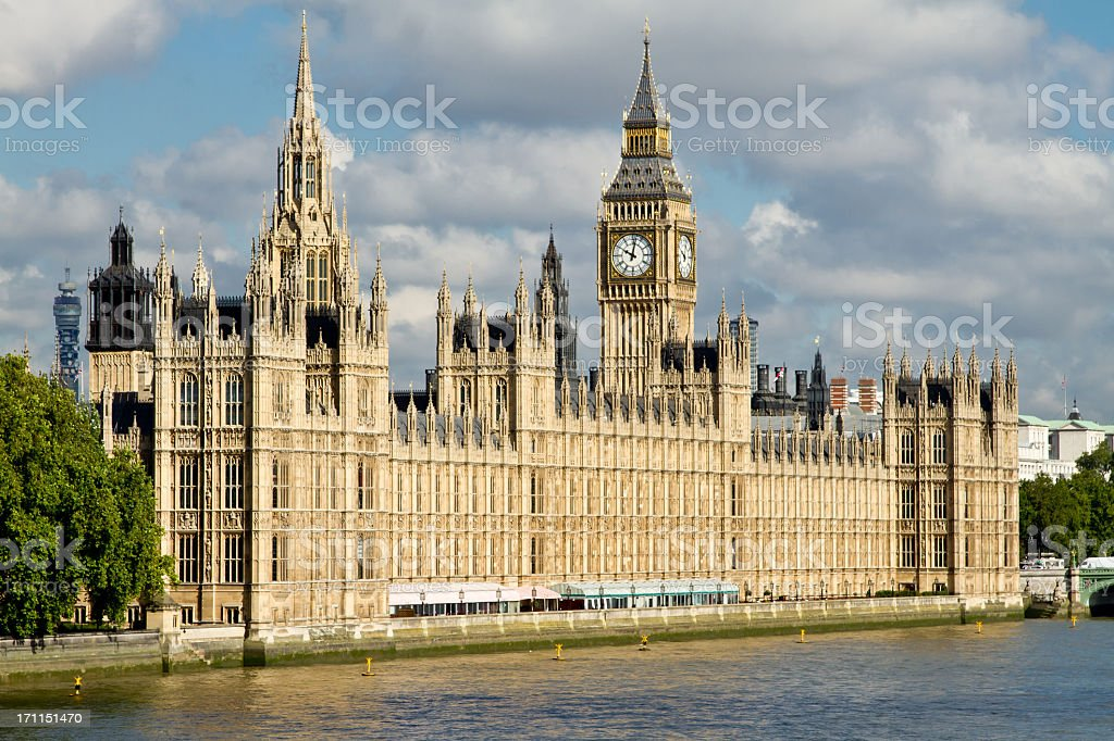 Houses of Parliament, Big Ben Tower, London England, River Thames stock photo