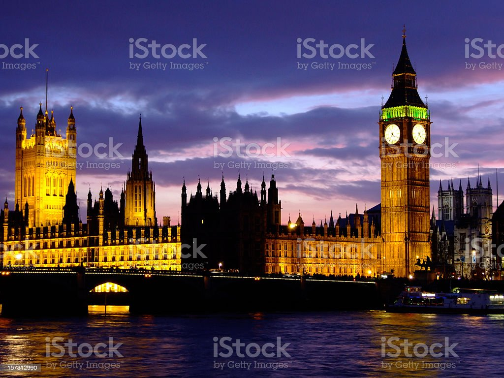 Houses of Parliament, Big Ben, Westminster Bridge and River Thames royalty-free stock photo
