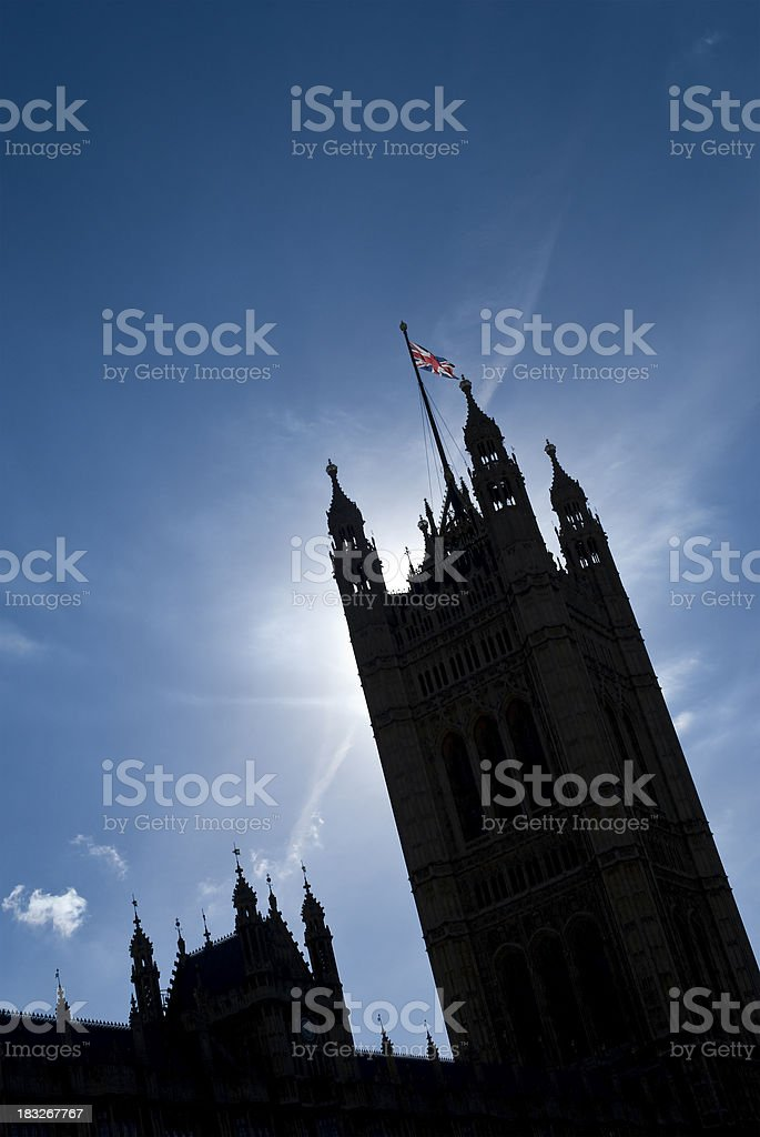 Houses of Parliament dramatically silhouetted royalty-free stock photo
