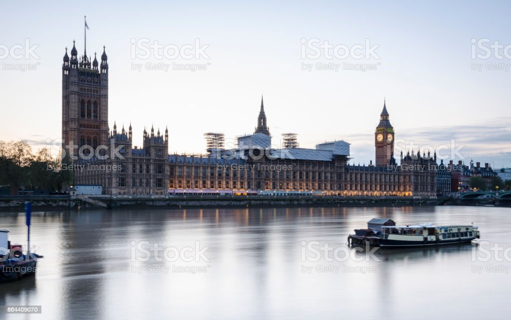 Houses of Parliament during sunset, London stock photo