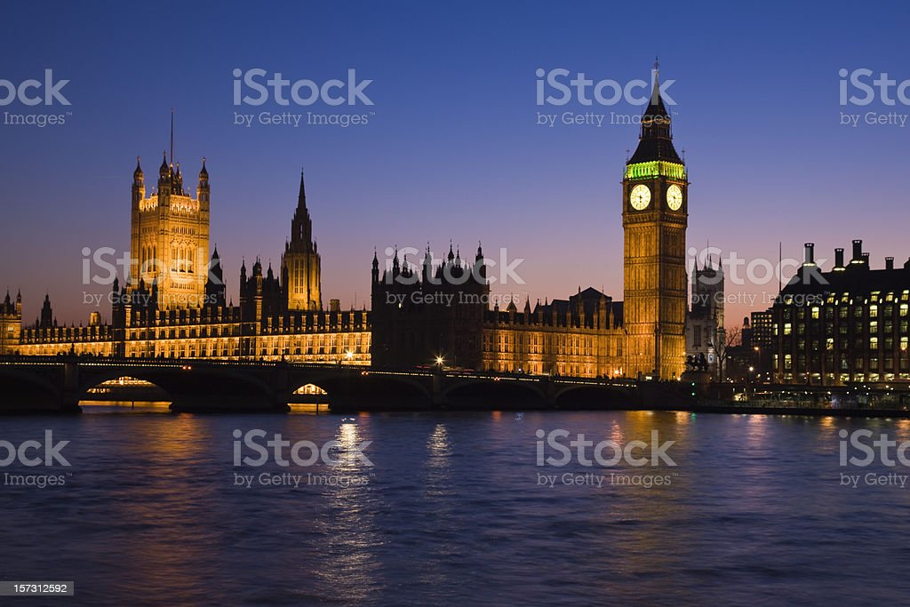 Houses of Parliament in London, England, at night royalty-free stock photo