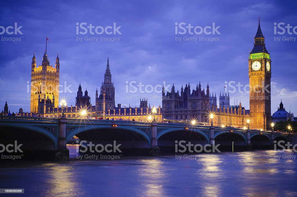 Houses of Parliament in London, England at night royalty-free stock photo