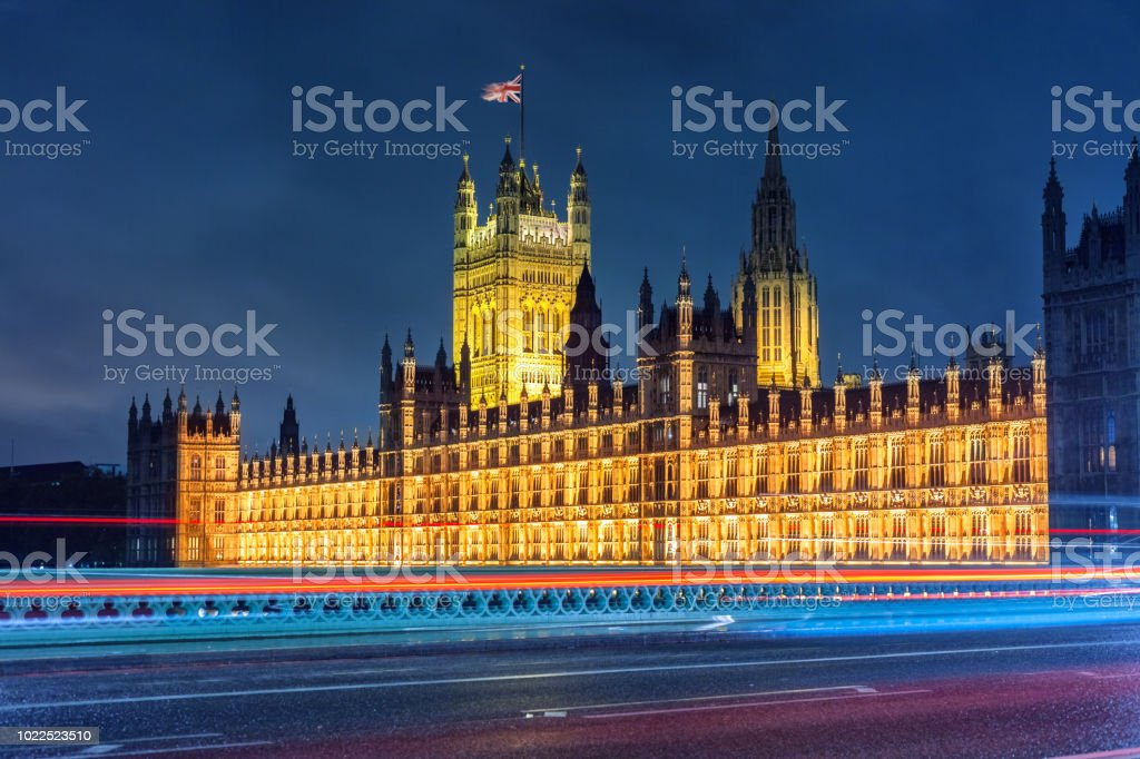 Houses of Parliament in London England UK stock photo